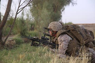 U.s. Marine Provides Security Art Print