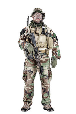 Photograph - U.s. Special Forces Soldier Wearing by Oleg Zabielin