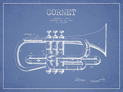 Trumpet Digital Art - Vintage Cornet Patent Drawing From 1901 by Aged Pixel