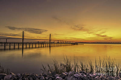 Photograph - Wando River Golden Glow by Dale Powell