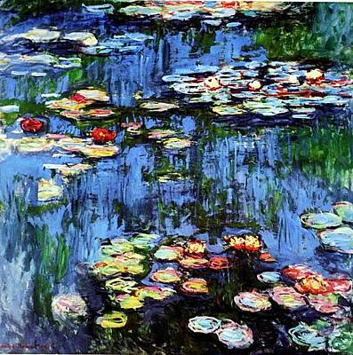 Art Print featuring the painting Waterlilies  by Claude Monet