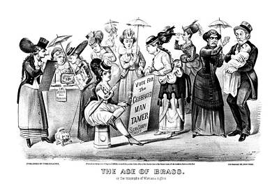 Suffrage Painting - Women's Rights Cartoon by Granger