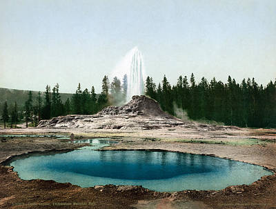 Early Spring Painting - Yellowstone Park Geyser by Granger