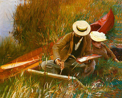 Loving Couple Painting - Paul Helleu Sketching With His Wife by John Singer Sargent