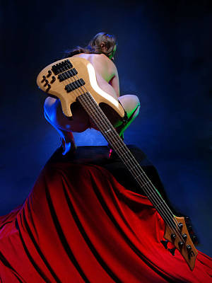 Photograph - 9091 Nude With Bass Guitar by Chris Maher