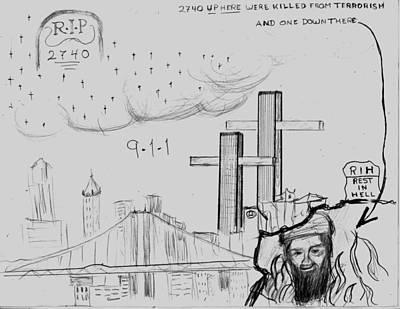 Terrorism Drawing - 911 New York City by Tibi K