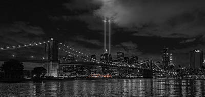 Pier 17 Digital Art - 911 Tribute Lights by Keith Yates