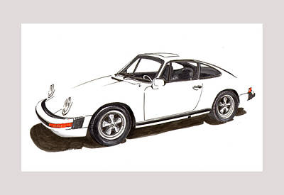 Drawing - 911 White On White 1978 Porsche by Jack Pumphrey