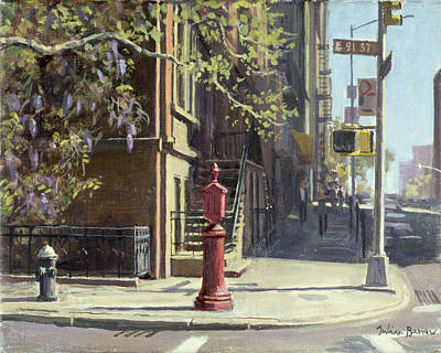 Manhattan Street Scene Painting - 91st Street At Lexington Avenue Oil On Canvas by Julian Barrow