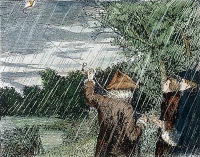 Rain Drawing - Benjamin Franklin (1706-1790) by Granger