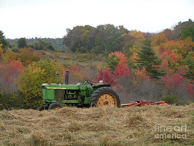 Haying Photograph - #924 D749 John Deere Tractor On Woodsom Farm In Amesbury Ma by Robin Lee Mccarthy Photography