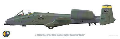 Digital Art - 92nd Tfs A-10 Warthog by Barry Munden