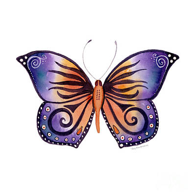 93 Orange Purple Capanea Butterfly Art Print by Amy Kirkpatrick