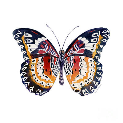 Animals Paintings - 94 Lacewing Butterfly by Amy Kirkpatrick