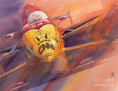 Indy Car Painting - 95 Winner by Robert Hooper
