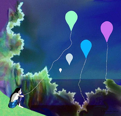 Digital Art - 954 - My Beautiful Balloon by Irmgard Schoendorf Welch