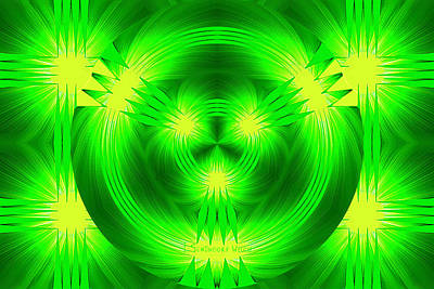 Digital Art - 969 - Deco Green 3 by Irmgard Schoendorf Welch
