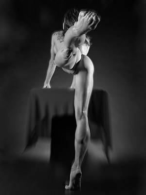 Photograph - 9730 Bw Nude Beautiful Powerful Woman Lifts Her Leg by Chris Maher