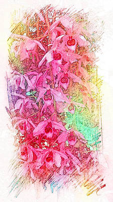 Painting - Pink Pretty Orchids by Xueyin Chen