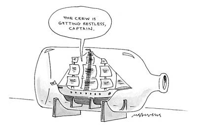 Ship In A Bottle Drawing - Captionless by Mick Stevens