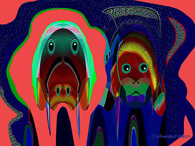 Painting - 984 - Alien Doggies by Irmgard Schoendorf Welch