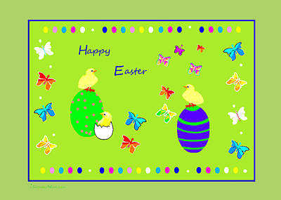 988 - Happy Easter   Greeting Card Art Print by Irmgard Schoendorf Welch