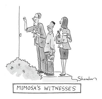 Brunch Drawing - Mimosa's Witnesses by Danny Shanahan