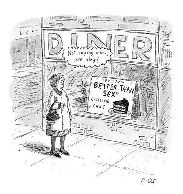 Food Stores Drawing - Captionless by Roz Chast