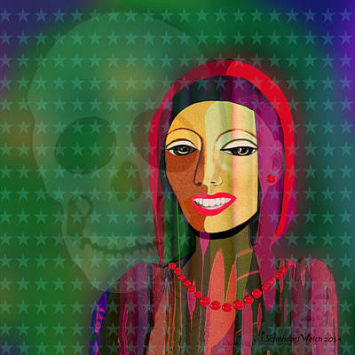 994 -  The   Lady With Beautiful Teeth Art Print by Irmgard Schoendorf Welch