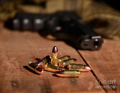 Sig Photograph - 9mm Ammo With Gun by Jt PhotoDesign