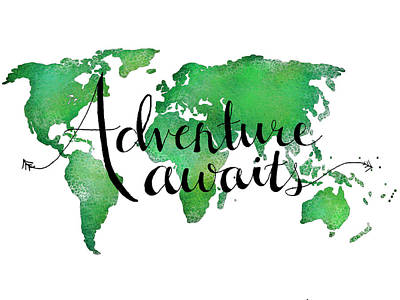 Caligraphy Digital Art - 9x12 Adventure Awaits Green by Michelle Eshleman