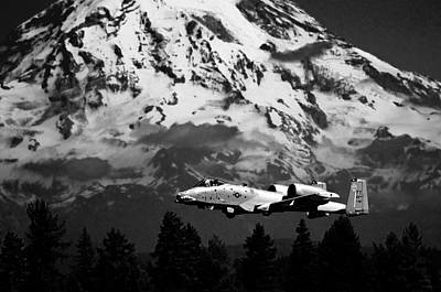 Photograph - A-10 Over Mt. Rainier by Chris McKenna