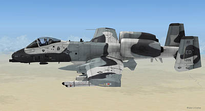 Digital Art - A-10 Thunderbolt II by Walter Colvin