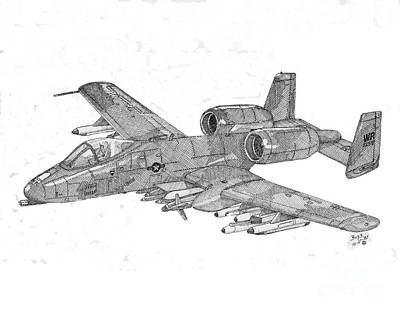 Vietnam War Drawing - A-10 Warthog by Calvert Koerber