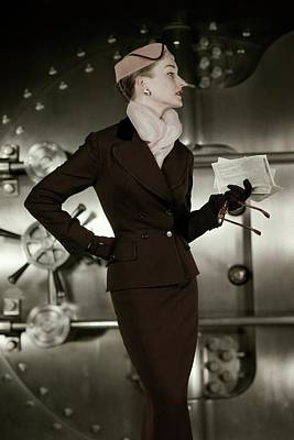 1950s Fashion Photograph - A 1950s Model Wearing A Tweed Suit by Leombruno-Bodi