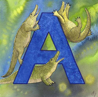 Alphabet Painting - A-alligator by Catherine G McElroy