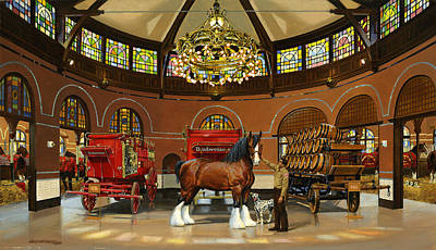 St. Louis Clydesdale Stables Art Print by Don  Langeneckert