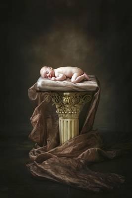 Naked Kids Photograph - A Baby Asleep On A Pillar by Pete Stec