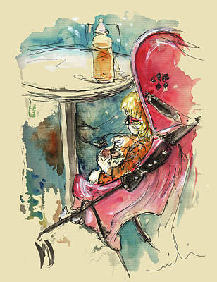 Painting - A Baby At A Cafe by Miki De Goodaboom