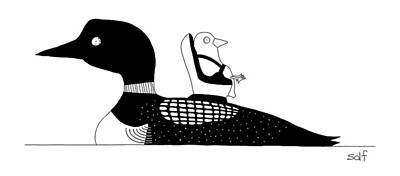 Babies Drawing - A Baby Duck In A Tiny Car Seat On The Mother by Seth Fleishman