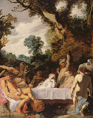 Orgy Painting - A Bacchanalian Feast, C.1617 by Johann Liss or Lis or von Lys
