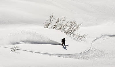 Snowboarder Photograph - A Backcountry Snowboarder Carving In by Chris Miller
