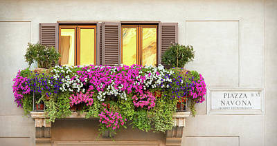 Balcony Photograph - A Balcony With Multicolored Flowers by Romaoslo