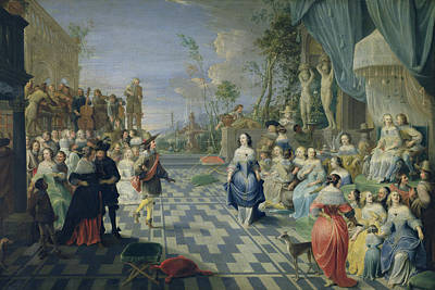 A Ball On The Terrace Of A Palace Oil On Canvas Art Print