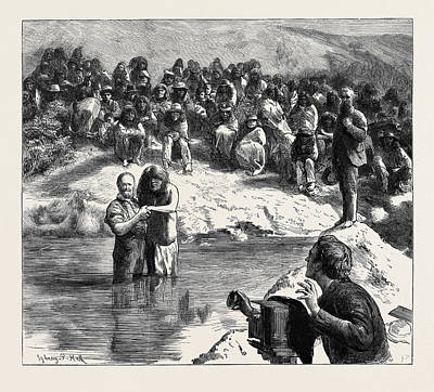 Baptism Drawing - A Baptism Of North American Indians Mormons Posing by American School