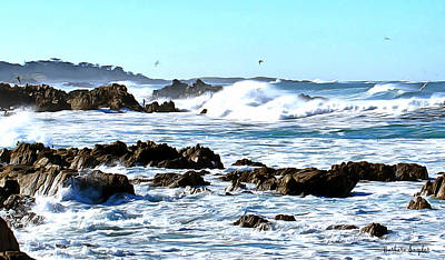 Vacation Spots Painting - Seascape And Sea Gulls by Barbara Snyder