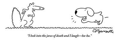 Drawing - A Barking Dog Runs Towards A Squirrel Who Faces by Charles Barsotti