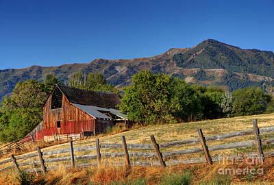 A Barn At Sunrise Beneath The Wellsville Mountains - Utah Art Print by Gary Whitton