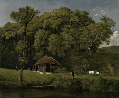 A Barn On The Bank Of A Stream In Gelderland Art Print by Litz Collection