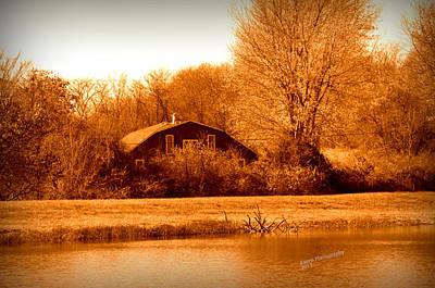 A Barn On The Lake Art Print
